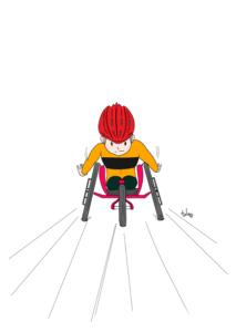 無料で簡単に塗れるパラリンピックの車椅子レースの塗り絵の色見本