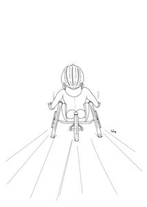 無料で簡単に塗れるパラリンピックの車椅子レースの塗り絵の線画